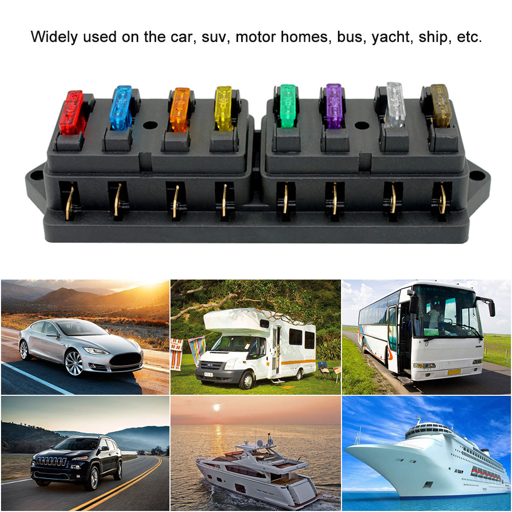 12v 8 Way Blade Fuse Box Holder Block With Standard Car Fuses Vehicle Cover 4 6