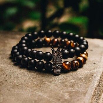 Crown Skull Stone Beads Bracelet