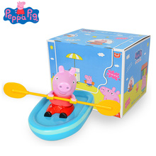 Original Peppa Pig Kayak Rowing Baby Playing In The Water Toys Clockwork Toy Boat Action Figure Childrens Beach Bath