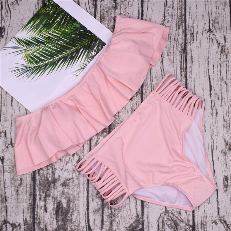 2018 Women Strapless Bikini Set Off Shoulder Swimsuit High Waist Cross Straps Biquini Sexy Hollow Out Swimwear Bathing Suit