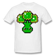 Mens Pixel Art Broccoli 100% Cotton Prints Casual Short Sleeve Tee Printing T Shirt Men New 2018 Fashion Summer