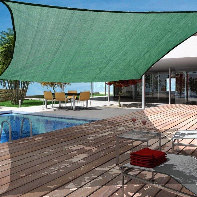 JINGUAN Outdoor 18u0027x18u0027 Rectangular Sun Shade Sail Canopy UV Blocked Outdoor Cover for & JINGUAN Outdoor 18u0027x18u0027 Rectangular Sun Shade Sail Canopy UV ...