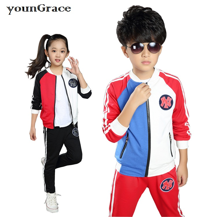 New 2016 School Uniform for Girls Brand Design 3-16T Boys School Autumn Zipper Baseball Tracksuit Kids Sports Clothing Set, C262