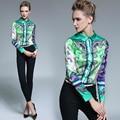 2016 осень женская роскошь зеленый печатных блузки рубашка женщины Ретро OL рубашка большой размер случайные блузки конструкций растениеводство топ