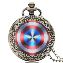 Captain America Movie Extension Shield Weapon The First Avenger Steve Rogers Design Pendant Pocket Watch