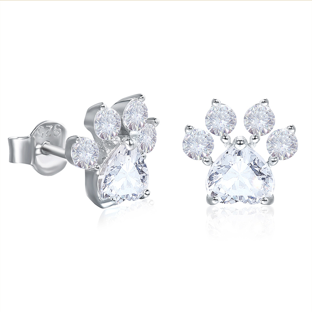 Solid 925 Sterling Silver Pink Cat Paw Stud Earrings 5