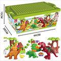 40 Unids/lote Dino Valle Building Blocks Establece partículas Grandes Animales Mundo Jurásico Modelo juguetes Ladrillos Compatibles Duploe