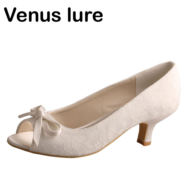 Ivory Wedding Shoes Low Heel   Hot Sale Ivory White Lace Pumps Court Open Toe Womens Bridal Shoes