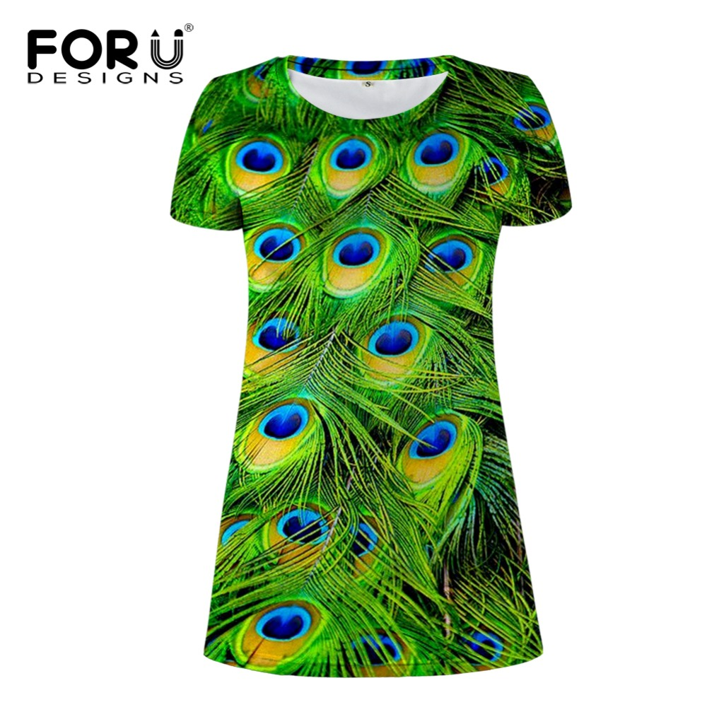 FORUDESIGNS Elegant Dress Women Peacock Feathers Print Dresses Short Sleeve Vestidos Casual Party Evening Sheath Bodycon Dress