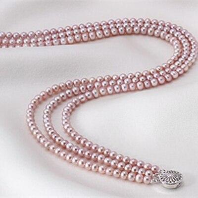 Для женщин подарок Слово стерлингового серебра 925 Настоящее завернутый пони жемчуга 4 4.5 мм Уникальный фиолетовый ожерелье естественный пре