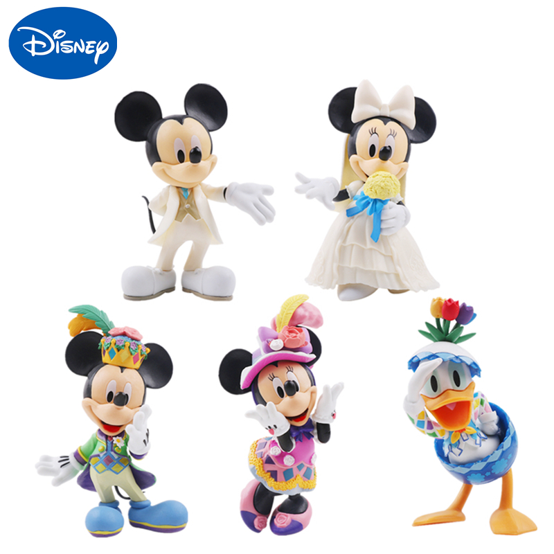 Disney Mickey Mouse Minnie Princess  Anime Action Figure Dolls Donald Duck Kawaii Cute Doll Model Children Birthday Gift