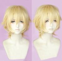 Sanrio Boys Ryo Nishimiya Short Milk Blonde Cosplay Costume Wig Heat Resistance Fibre + Cap