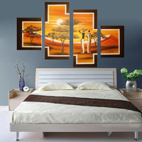 Oil Painting High Quality African People Tribal Life Landscape Oil PaintingOn Canvas Modern 4 Pcs Group