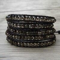 5 браслет обруча Boho кварц браслет из бисера Gypsy кожаный браслет обруча Boho мужчин Yoga Jewelry Новогодние товары подарок