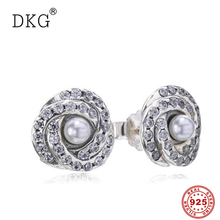 d57e9c439 100% 925 Sterling Silver Original Luminous Love Knots Pan Stud Earrings  With Pearl Crystal For