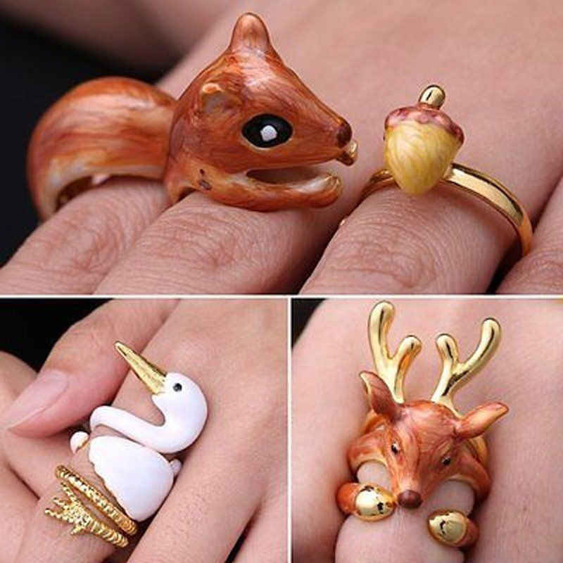 Hot Fashion 3Pcs/Set Open Rings Animal Deer Squirrel Swan Adjustable Finger Rings Party Cute Fashion Jewelry Accessories Gifts