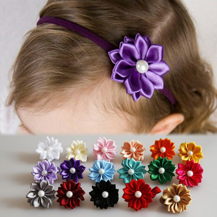 New Charming Hair Accessories Lovely Cloth Simulated Pearl Flower Bow Shaped Girls Headband 17 Colors