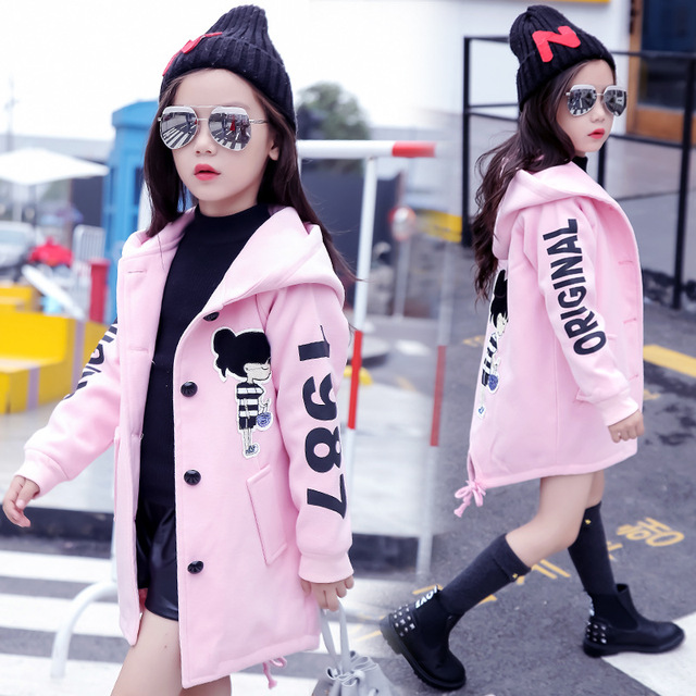 Girls Clothes Autumn and Winter 2019 New Children Fashion Cartoon Thick Warm and Medium Long Woolen Coat Jackets 4 12 Year