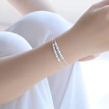 Tjp Шарм матовые шарики женские серебряные браслеты ювелирные