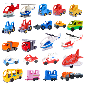 Traffic Vehicle Car Model Big Building Blocks Airplane Engineering Truck Compatible Duplos Accessories Bricks Toys Children Gift цена 2017
