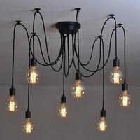Edison Retro Spider Chandelier Lighting Ceiling Pendant 8 Lights Edison Retro Spider Drop Light Lighting AC
