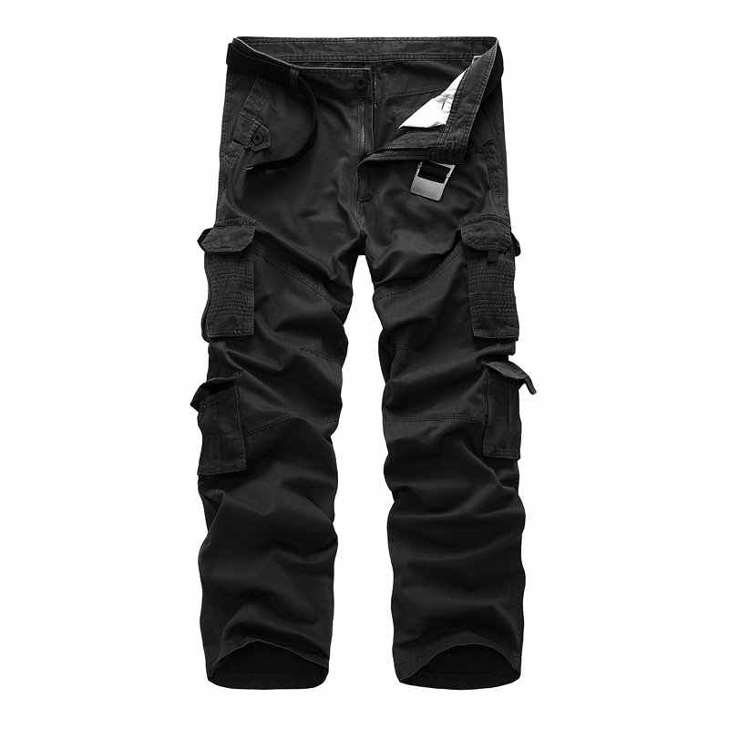 a7bd34f0d 2018 Spring Autumn Casual Cargo Men Pants Cotton Workout Multi-Pocket  Military Tactical Men Trousers