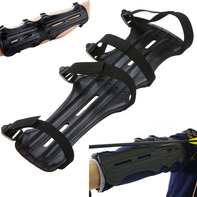 Mayitr Black 4 Adjustable Straps Archery Arm Guard Shooting Bow String Arm Protector Gear For Hunting Training Protection