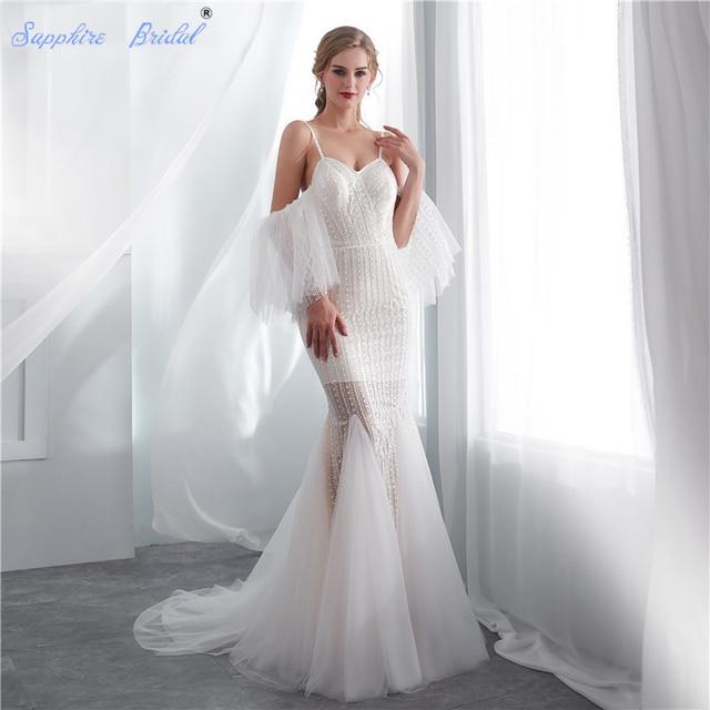 Sapphire Bridal 2019 Illusion Plaża Suknia Dla Nowożeńców Vestido De