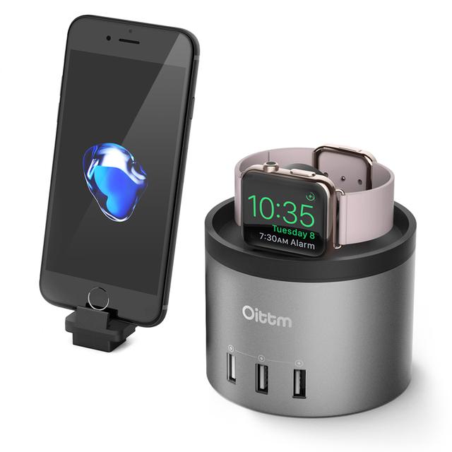 Carregador dock para apple watch oittm carregador portas usb estação de carregamento doca com suporte do telefone suporte para iphone 7, 7 Mais 6 6 s 5