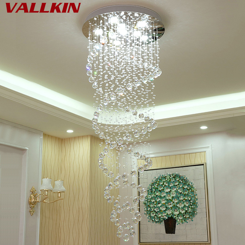 Modern LED Double Spiral Crystal Chandelier Lighting for Foyer Staircase Hotel Hall Ceiling Chandeliers Hanging Suspension Lamp