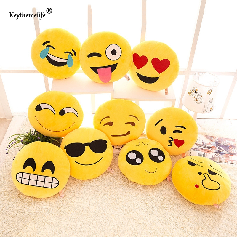 Keythemelife Cute Creative Smile Emoji pillow 10x10cm Cushion Cartoon Facial QQ Expressi ...