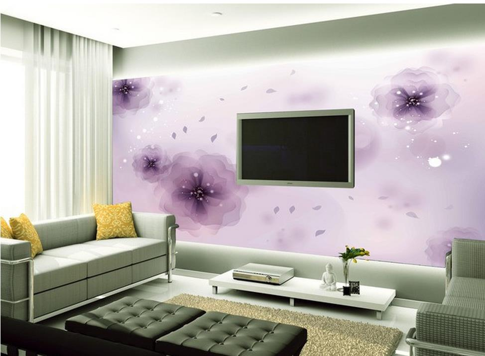 3d wallpaper lila fantasie mode blume tv wand fotowand for Dekoration wandbilder