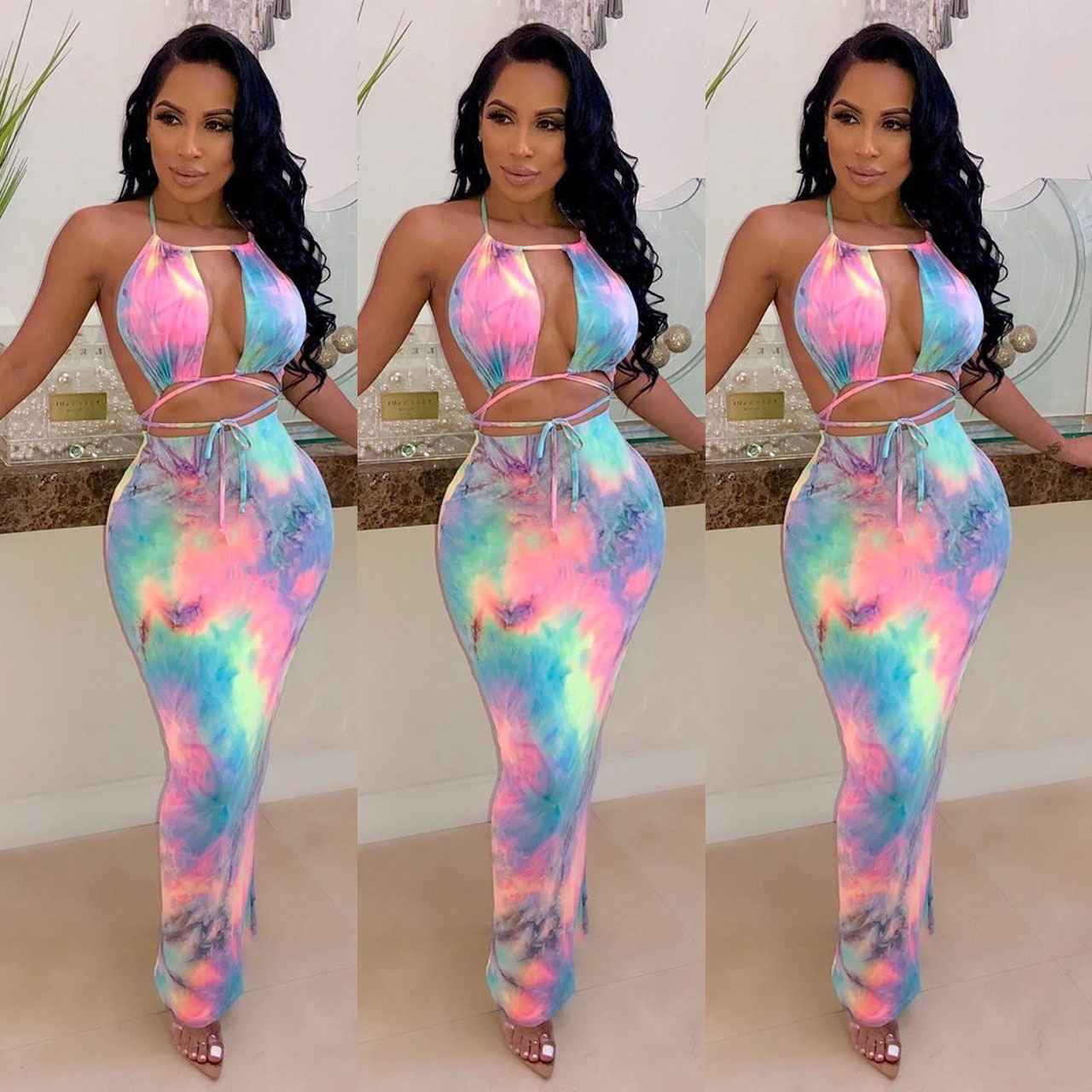 Summer New Women's Tie-dyed Printed Tube Top Hanging Neck Mid-waist Sleeve Dress Beach Party Pencil Dress K8036
