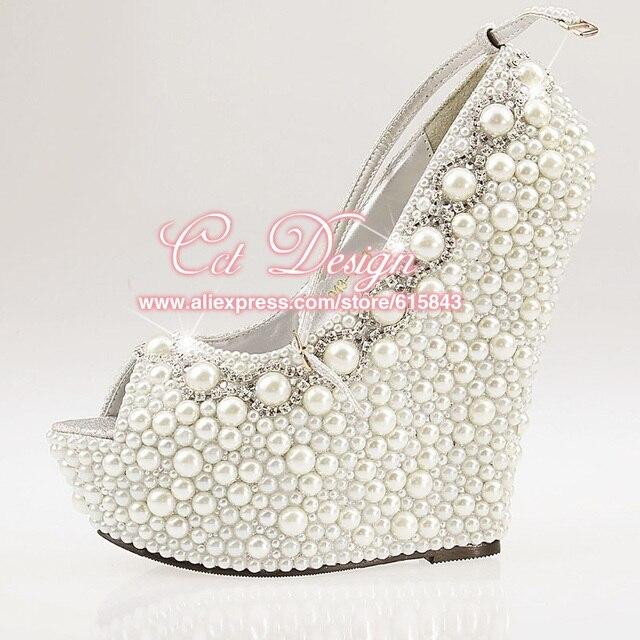 9c4f5e3b41b 2016 Customized New Women Ivory Beige White Pearls Rhinestone Wedding Wedges  Peep Toe Ankle Strap High Heel Pumps Bridal Shoes
