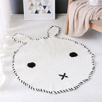 Cute Pure White Rabbit Pattern Crochet Knitted Round Rugs Carpets For Children Room Decoration Kids Baby