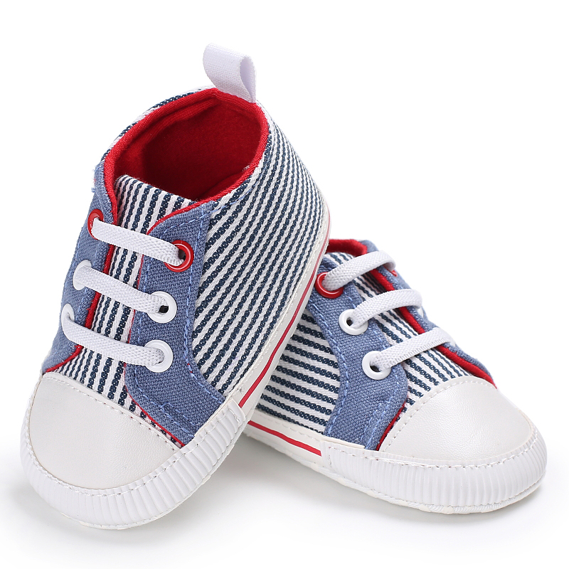 Prewalker Baby Striped Canvas Sport Boys Shoes Infants Children Girls Booties Firstwalker Sneakers Bebe Kids Todders Fashionable
