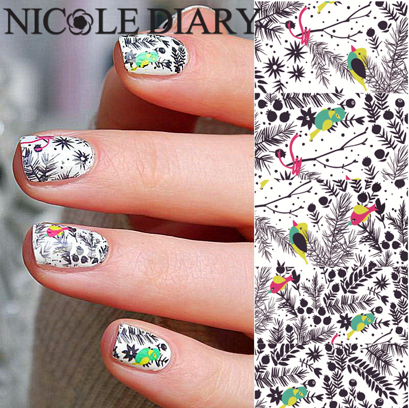 NICOLE DIARY Nail Art Water Tattoo Design Lovely Animal Stickers Sheet on Finger Water Transfer Nail Art Decals 25943