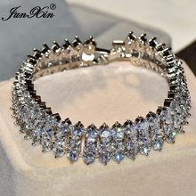 JUNXIN Unique Geometric Design Women AAA Zircon Bracelet High Quality 10KT White Gold Filled Jewelry Vintage Wedding Bracelets(China)