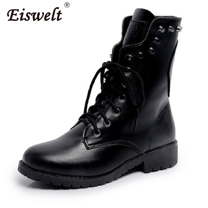 EISWELT Shoes Woman Boots Female PU Leather Boot Mid-calf Women Boots Fashion Rivet Winter Warm Plush Shoes Black Boots#ZQS249 stylish women s mid calf boots with solid color and fringe design