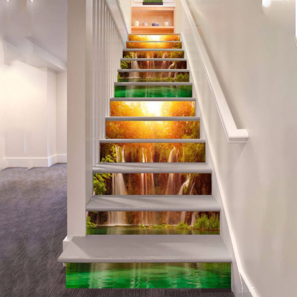 3D Vision Waterproof Stairs Corridor Mural Stairway StickersWall Stickers Stair Decal Stairway Stickers Family Stair Riser Decor