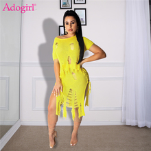 Adogirl holes tassel knitted two piece set dress off shoulder short sleeve crop top side lace up midi skirt summer beach dresses women summer beach grid bohemian off shoulder tassel splicing top side split maxi skirt suit two piece set dress 4 color s3554