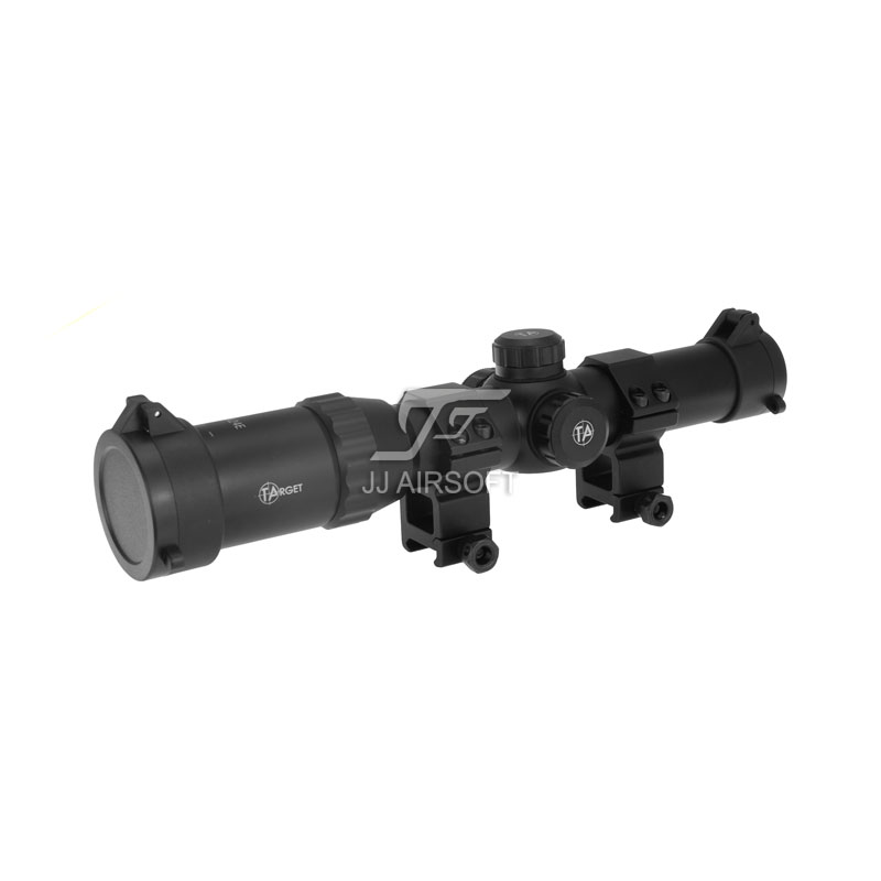 TARGET OPTICS 1-4x24 E Red/Green/Blue Reticle Long Eye Relief Illumination Rifle Scope with killflash / Kill Flash (Black) 10ets08fp to 220f