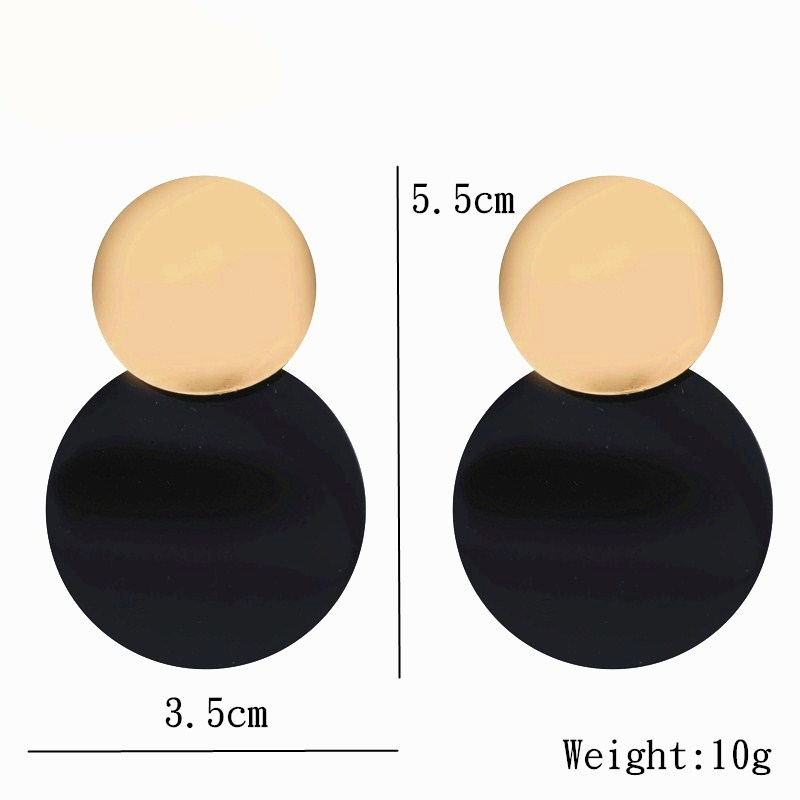 Trendy Gold Color Round Metal Statement Earrings For Women Unique Black Stud Earrings Vintage Party Wedding Punk Fashion Jewelry