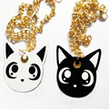 Black and White Cat Pendant Necklace Cute Home Pet Necklace Woman's Fashion Jewelry
