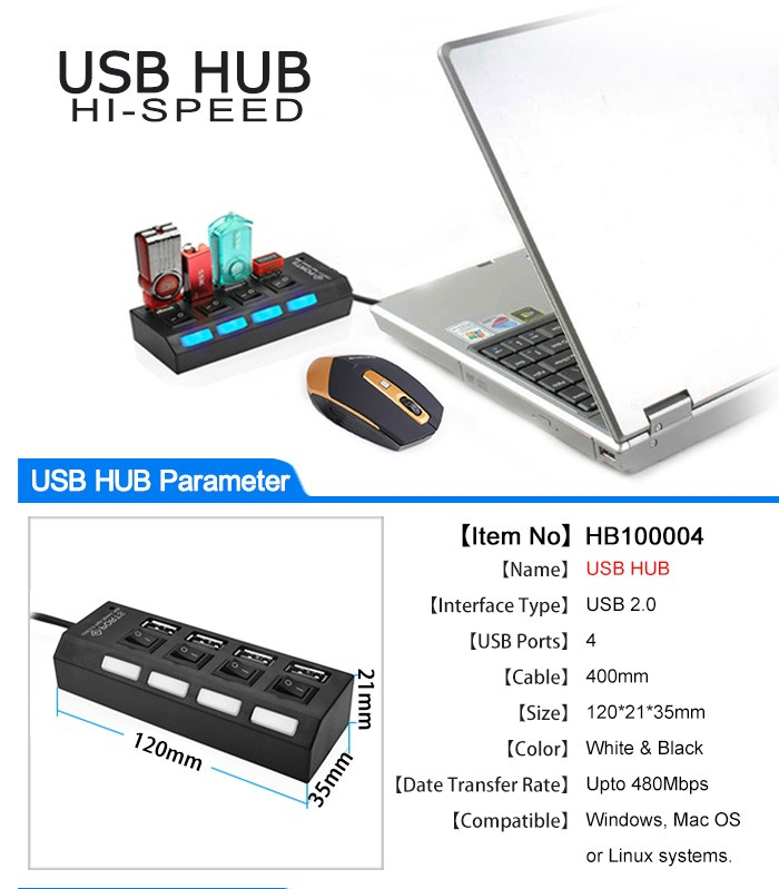 USB 3.0 HUB 2.0 HUB Multi USB Splitter 4/7 Port Expander Multiple USB 3 Hab With Power Adapter USB3.0 Hub With Switch For PC