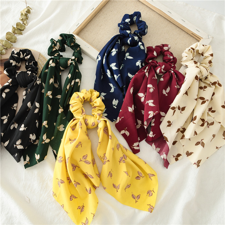 Summer Flower Printed Women Elastic Scrunchies Hair Bands Retro  Hair Ties Scarf Rubber Band Hair Accessories For Women Girls