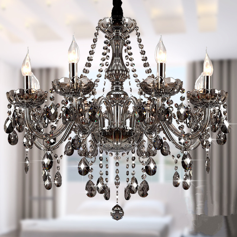 Buy modern crystal chandeliers lighting lustre de crystal smokey grey ceiling - Dining room crystal chandelier ...