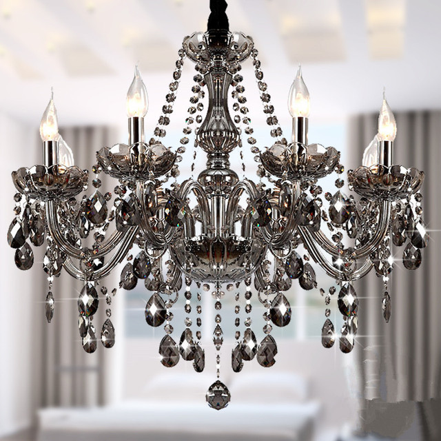 Modern crystal chandeliers lighting lustre de crystal smokey grey modern crystal chandeliers lighting lustre de crystal smokey grey ceiling lamp dining room light fixtures 6 aloadofball Image collections