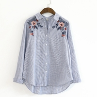 Floral Embroidery Blouse Long Sleeve Button Up Turn Down Collar Striped Shirt Women Spring Autumn Cotton