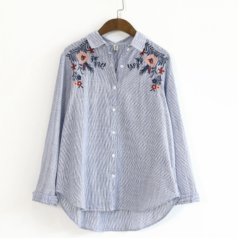 Comfy Store Floral Embroidery Blouse Long Sleeve Button Up Turn Down Collar Striped Shirt Women Spring Autumn Cotton Women Blouses